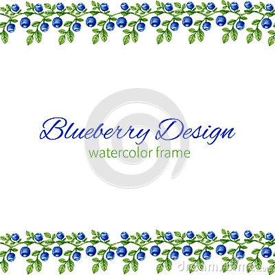 Free Watercolor Blueberries, Frame, Border Hand Drawn  Illustration, Can Be Used For Banner, Cards, Wedding Invitations Royalty Free Stock Images - 72379619