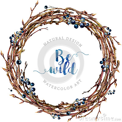 Free Watercolor Boho Wreath Made Of Twigs And Berries. Royalty Free Stock Photography - 79679437