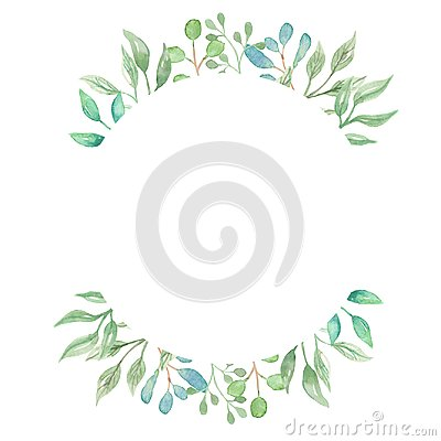 Free Watercolor Border Greenery Foliage Leaves Leaf Green Frame Wedding Spring Summer Royalty Free Stock Images - 107802969