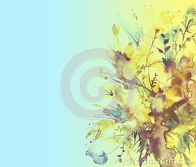 Watercolor bouquet of flowers, Beautiful abstract splash of paint, fashion illustration. Orchid flowers, poppy, cornflower, gladio Cartoon Illustration
