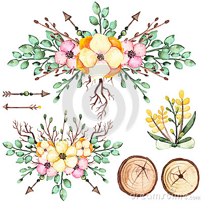 Watercolor Bouquets With Yellow Flowers, Arrows And Wood Stock Photo