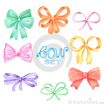Free Watercolor Bow Set Stock Images - 55603134
