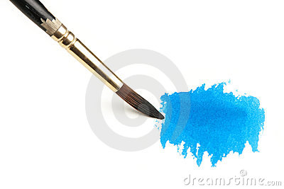 Watercolor Brush and Blue Paint