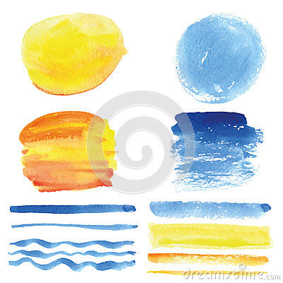 Free Watercolor  Brushes, Circle Frame.Cyan,yellow.Summer Royalty Free Stock Photo - 76027395