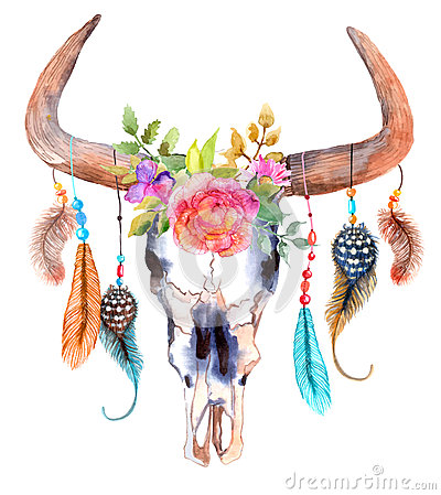 Watercolor bull skull with flowers and feathers Vector Illustration