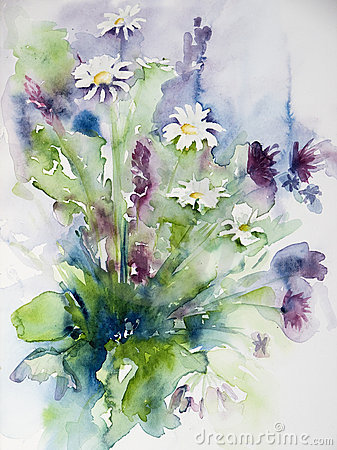 Watercolor of a bunch of wild flowers