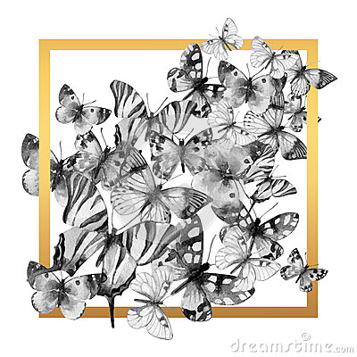 Free Watercolor Butterfly Frame. Stock Photography - 69923232