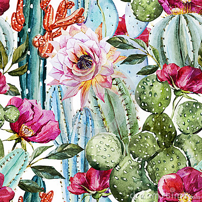 Free Watercolor Cactus Pattern Royalty Free Stock Images - 56551159