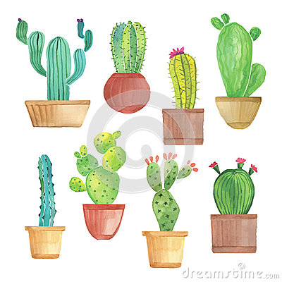 Free Watercolor Cactus Set Stock Photography - 55602362