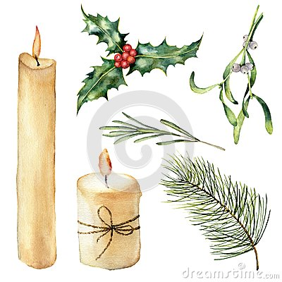 Watercolor candle with decor set. Hand painted candle, holly, mistletoe rosemary, christmas tree branch isolated on Stock Photo