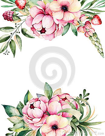 Free Watercolor Card With Place For Text With Flower,peonies,leaves,branches,lupin,air Plant,strawberry Royalty Free Stock Photos - 74379418