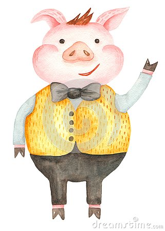 Free Watercolor Cartoon Pig. The Symbol Of The New 2019. Stock Photography - 130428052