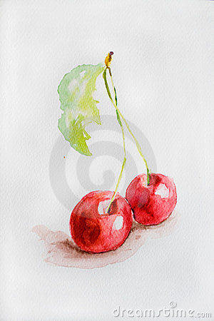 Watercolor cherry