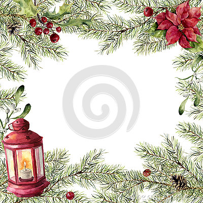 Watercolor christmas card. Fir branch with holly, mistletoe, poinsettia and red lantern. New year tree border with decor Stock Photo