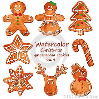 Free Watercolor Christmas Gingerbread Cookies Stock Photography - 47363202
