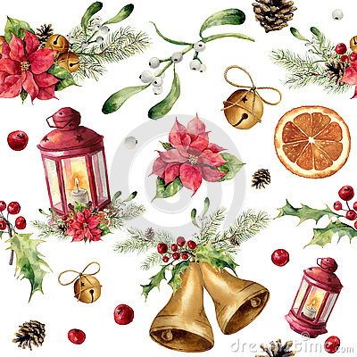 Free Watercolor Christmas Seamless Pattern With Decor And Lantern. New Year Tree Ornament With Lantern, Bell, Holly Stock Photography - 79883772