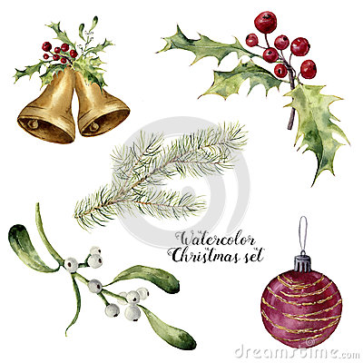 Free Watercolor Christmas Set. Hand Painted Collection With Bells, Mistletoe, Holly, Fir Branch And Christmas Ball Isolated Royalty Free Stock Photo - 80493575