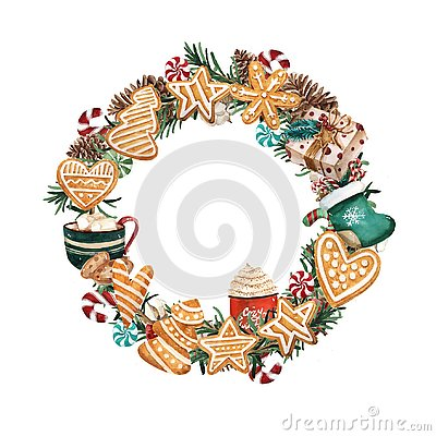 Free Watercolor Christmas Wreath With Gingerbread Cookies And Branches. Hand Drawn Illustration. Good For Cards And Christmas Decoratio Stock Photos - 129926933
