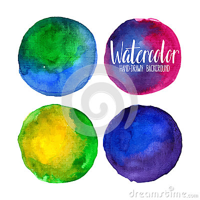 Watercolor circle elements Vector Illustration