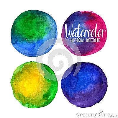 Watercolor circle elements Vector Illustration