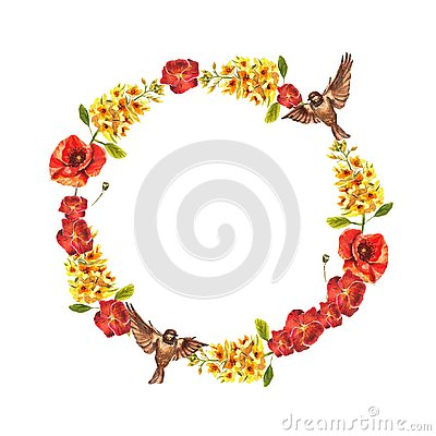 Watercolor circle frame of red violets, puppies, yellow eremurus and sparrows Stock Photo