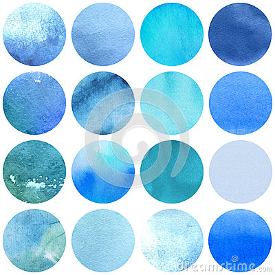 Free Watercolor Circles Collection Blue Colors. Royalty Free Stock Photos - 61762298