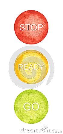 Watercolor circles, traffic lights, vector Vector Illustration