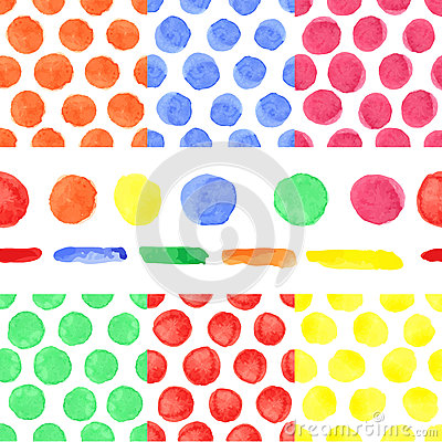 Stock Illustration Watercolor Colored Polka Dot Seamless Pattern Baby ...