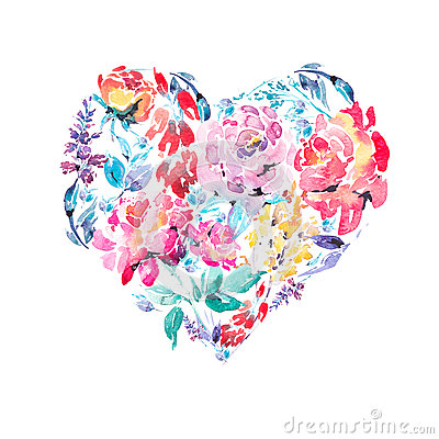 Free Watercolor Colorful Floral Roses Heart Stock Images - 84347314