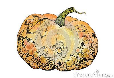 Watercolor decorative pumpkin