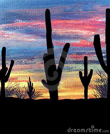 Watercolor desert