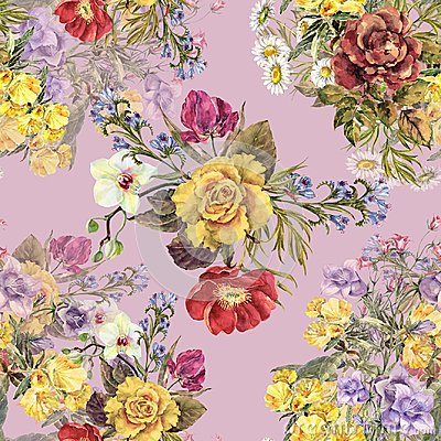 Free Watercolor Different Bouquets Flowers On A Pink Background. Royalty Free Stock Photos - 106108158