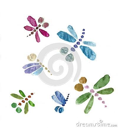 Watercolor dragonflies set