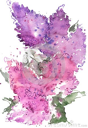 Free Watercolor Drawing Blue And Purple Lilac Royalty Free Stock Images - 117078699