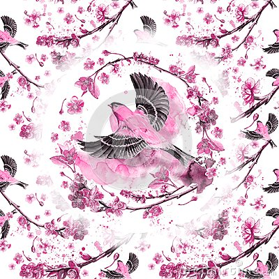 Free Watercolor Drawing Seamless Pattern On The Theme Of Spring, Heat, Illustration Of A Bird Of A Sparrow-like Fleet Of Orioles Flyin Stock Photography - 108848402