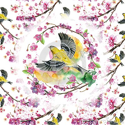 Free Watercolor Drawing Seamless Pattern On The Theme Of Spring, Heat, Illustration Of A Bird Of A Sparrow-like Fleet Of Orioles Flying Royalty Free Stock Photos - 108848198