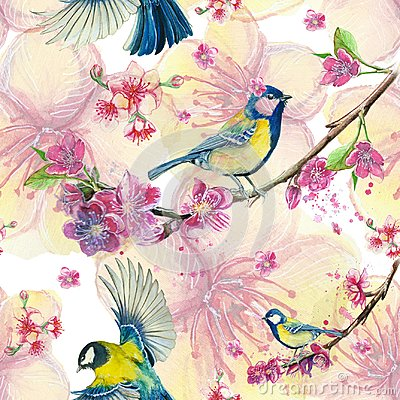Free Watercolor Drawing Seamless Pattern On The Theme Of Spring, Heat, Illustration Of A Bird Of A Troop Of Passerine-shaped Large Tits Stock Photography - 108848332