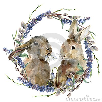 Watercolor Easter bunny with floral wreath. Hand painted rabbit with lavender, willow and tree branch isolated on white Cartoon Illustration