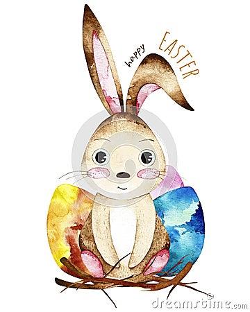 Free Watercolor Easter Postcard. Stock Photos - 111954393