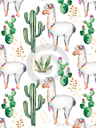 Free Watercolor Elements For Your Design With Cactus Plants,flowers And Lama. Royalty Free Stock Photo - 68225645