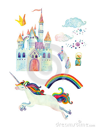Free Watercolor Fairy Tale Collection With Unicorn, Rainbow, Castle, Magic Gemstones And Fairy Clouds Stock Photos - 70088903