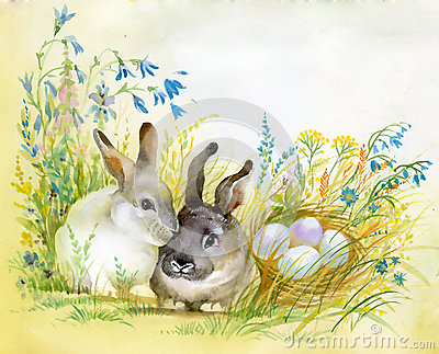 Watercolor Fauna Collection: Rabbit