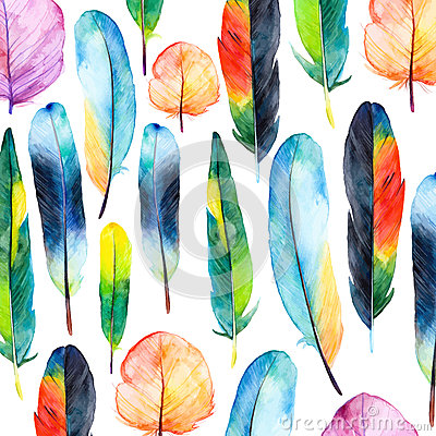 Free Watercolor Feathers Set. Hand Drawn Vector Illustration With Colorful Feathers. Stock Photography - 53517042