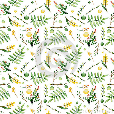Watercolor Ferns And Yellow Flowers Seamless Pattern Stock Photo