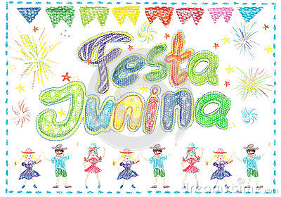 Watercolor Festa Junina Background Holiday. Greeting Card. Stock Photo