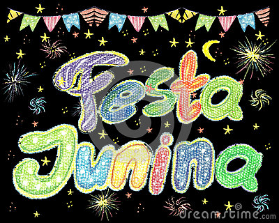 Watercolor Festa Junina Background Holiday. Greeting Card. Stock Photo