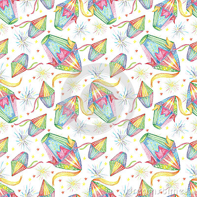 Watercolor Festa Junina Background Holiday. Seamless Pattern. Stock Photo