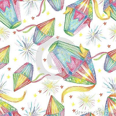 Watercolor Festa Junina Background Holiday. Seamless Pattern. Stock Photo