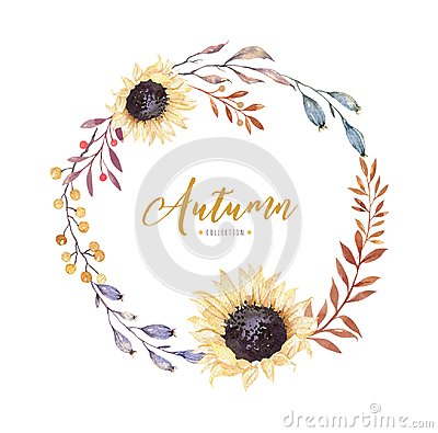 Free Watercolor Floral Boho Flower Wreath. Watercolour Natural Frame: Leaves, Feather And Birds. Isolated On White Background Stock Photos - 99907113