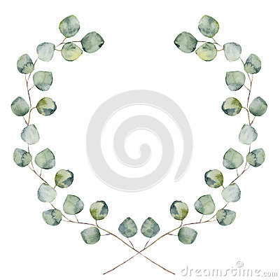 Watercolor floral border with baby and silver dollar eucalyptus leaves. Stock Photo